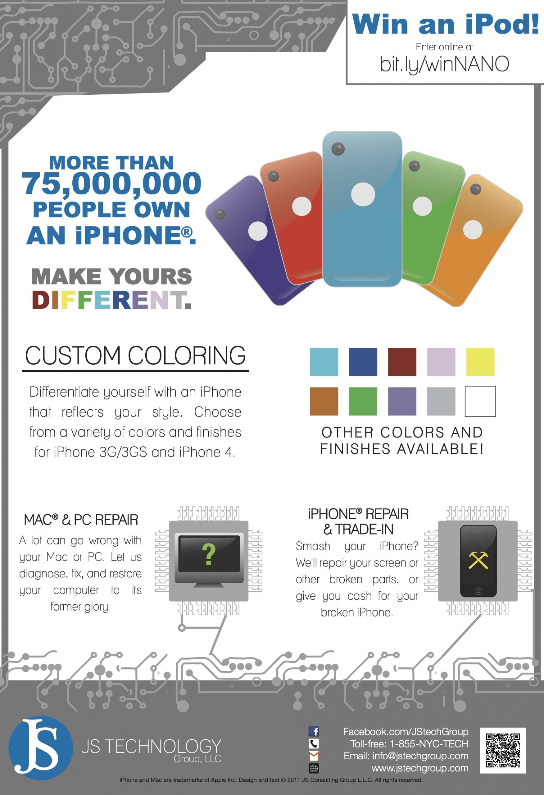 Old JS Technology Advertisement. iPhone color customization.